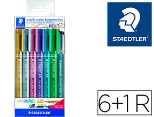 Rotulador Staedtler Metalico 8323 Blister de 6 Unidades Colores Surtidos + 1 Rotulador Calibrado 308 C2-9
