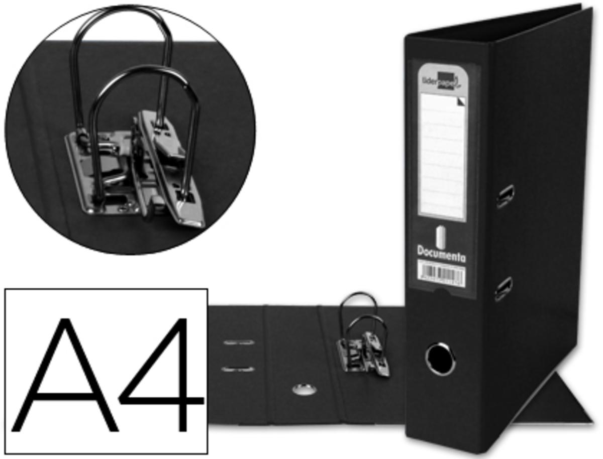 Archivador De Palanca Liderpapel A4 Documenta Forrado Pvc Con Rado Lomo 75Mm Negro Compresor Metalico