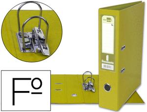 Archivador De Palanca Liderpapel Folio Documenta Forrado Pvc Con Rado Lomo 75Mm Amarillo Compresor Metalico
