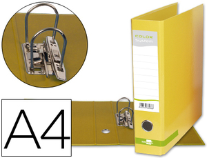 Archivador De Palanca Liderpapel A4 Color System Forrado Sin Rado Lomo 80Mm Amarillo Compresor Metalico