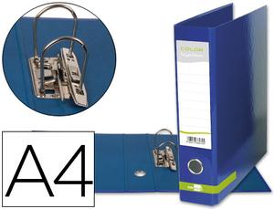 Archivador De Palanca Liderpapel A4 Color System Forrado Sin Rado Lomo 80Mm Azul Compresor Metalico