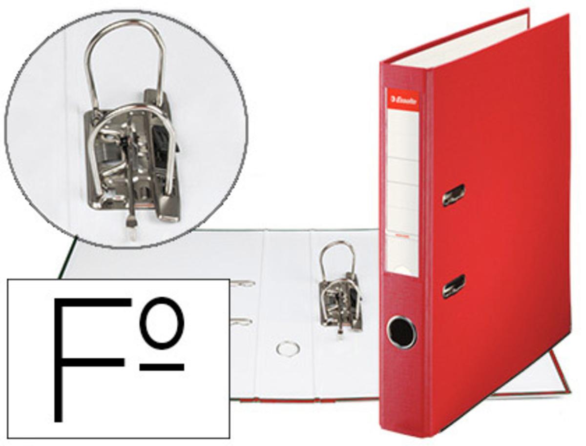 Archivador De Palanca Esselte Carton Forrado Pvc Folio Lomo De 50 Mm Con Rado Rojo