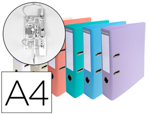 Pack de 10: Archivador De Palanca Exacompta Carton Forrado Pvc Din A4 Colores Pasteles Surtidos Lomo 70 Mm Con