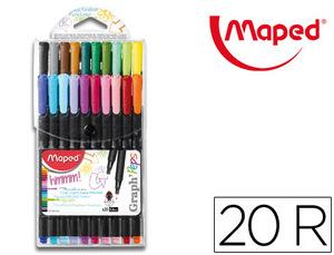Rotulador Maped Punta de Metal Graph Peps Fine Liner Estuche de 20 Colores Surtidos