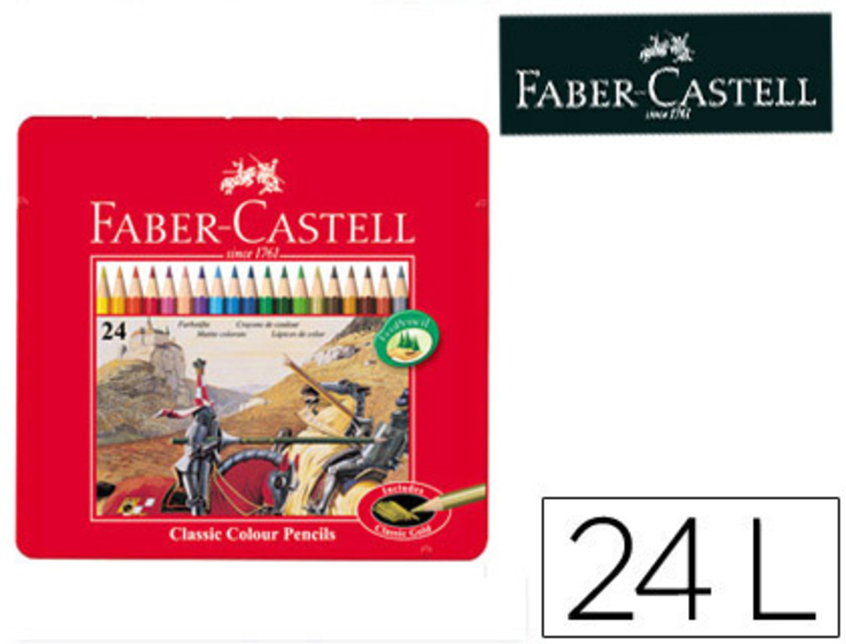Lapices de Colores Faber Castell Caja Metalica de 24 Colores Surtidos