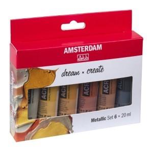 Set 6 Acrilicos Metal Amsterdam 20ml