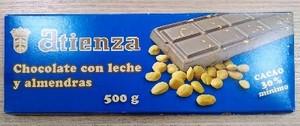 Chocolate con leche y almendras 500grs Atienza