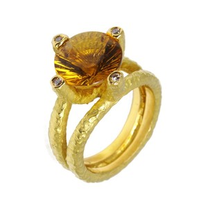 Anillo oro amarillo citrino y diamantes