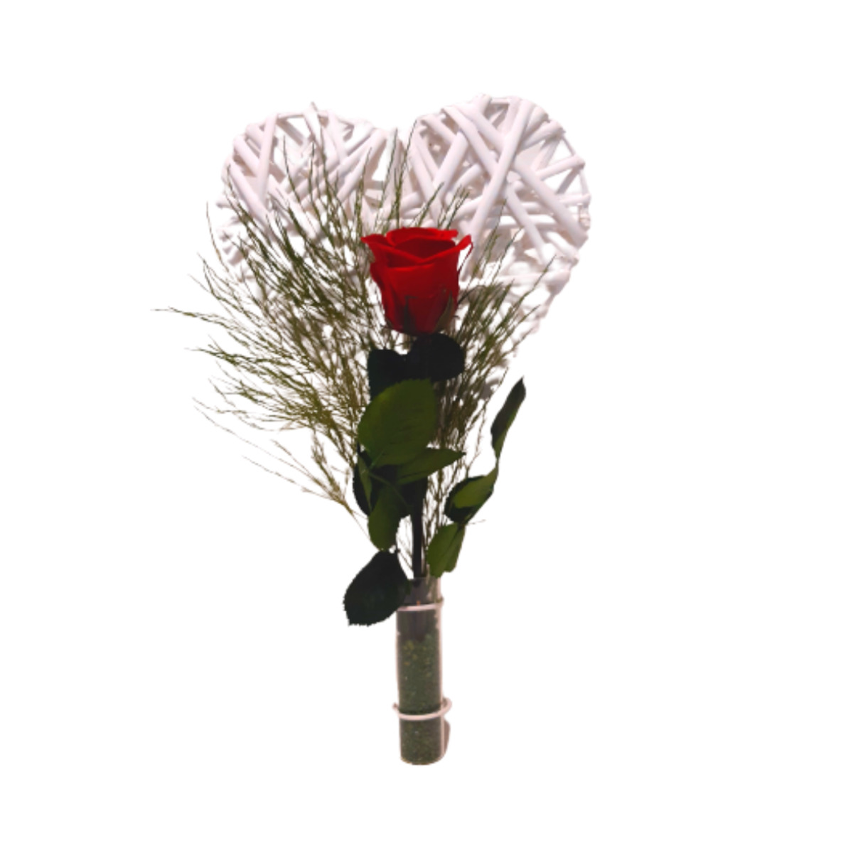 Rosa roja con corazón