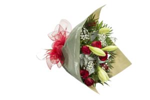 Ramo de longuiflorum y rosas rojas
