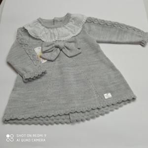 Vestido bebé lazito gris