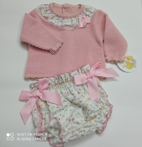Conjunto vestir rosa bebé