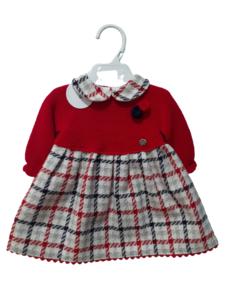 Vestido recién nacido rojo y cuadros