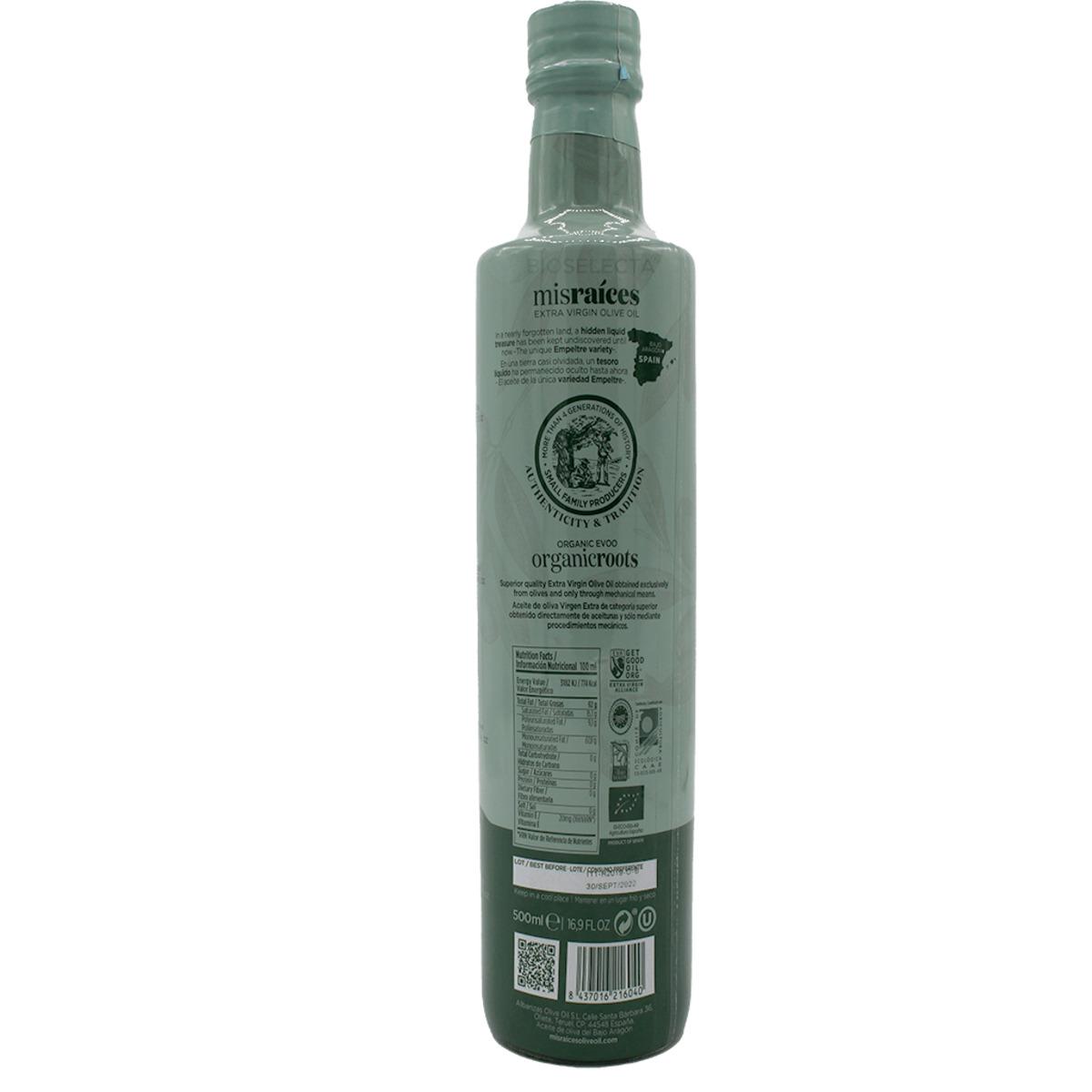 Aceite de oliva virgen extra. Mis raíces organic. ½ L. Bio (Oliete. Teruel)