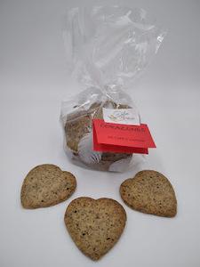 Pastas de té Corazones de café y nueces. Paquete de 100 g.