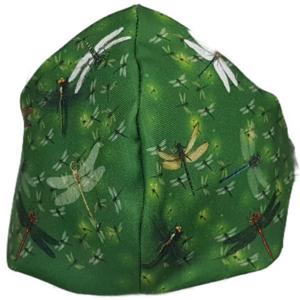 Mascarilla de Tela - Libélulas Fondo Verde