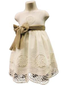 Vestido blanco con punto Marguerit
