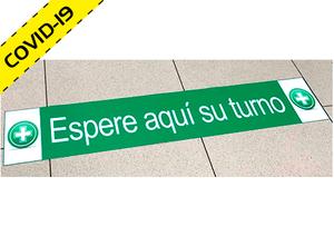"""Vinilo adhesivo para suelo """"ESPERE SU TURNO"""" Especial Farmacias COVID-19"""