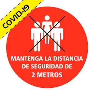 """Vinilo adhesivo circular para suelo """"MANTENGA LA DISTANCIA DE SEGURIDAD DE 2 METROS"""" COVID-19"""