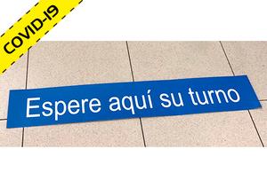 """Vinilo adhesivo para suelo """"ESPERE SU TURNO"""" COVID-19"""