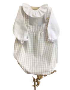 Pelele de bebé vichy gris