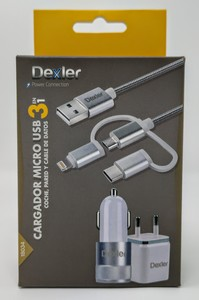 2 Cargadores x 3 Cables Dexler