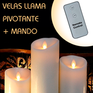 Pack 3 VELAS led de cera con llama móvil pivotante + mando