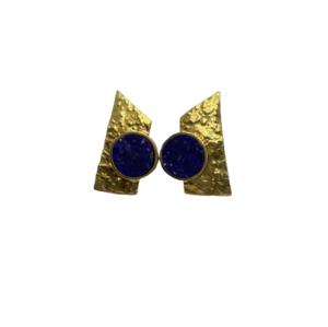 Pendientes de oro y lapislázuli