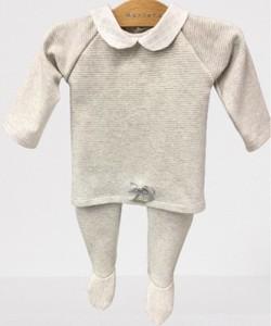 Conjunto para bebé - Punto a rayas grises