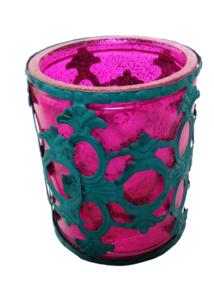 Portavelas tipo vaso vidrio rosa