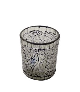 Portavelas tipo vaso vidrio mosaico