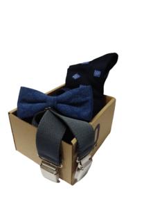 """Conjunto calcetines, elásticos y """"pajarita"""" (Azul)"""