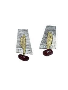 Pendientes de plata y oro con turmalina