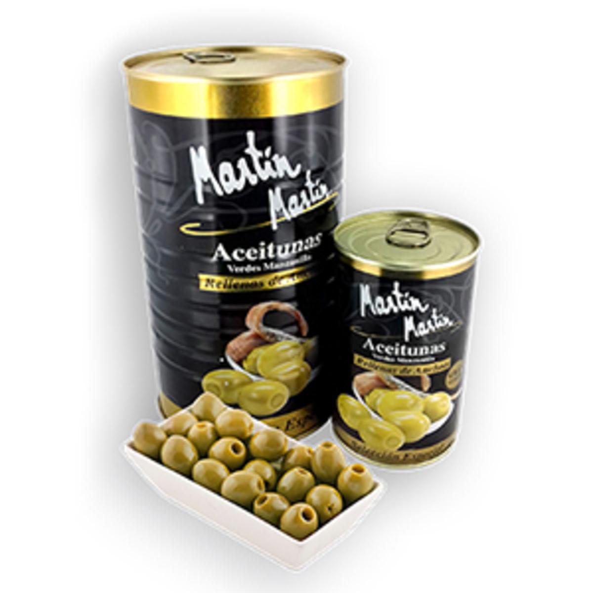 Aceituna rellena sabor anchoa Etiqueta Negra Martín 600 gr
