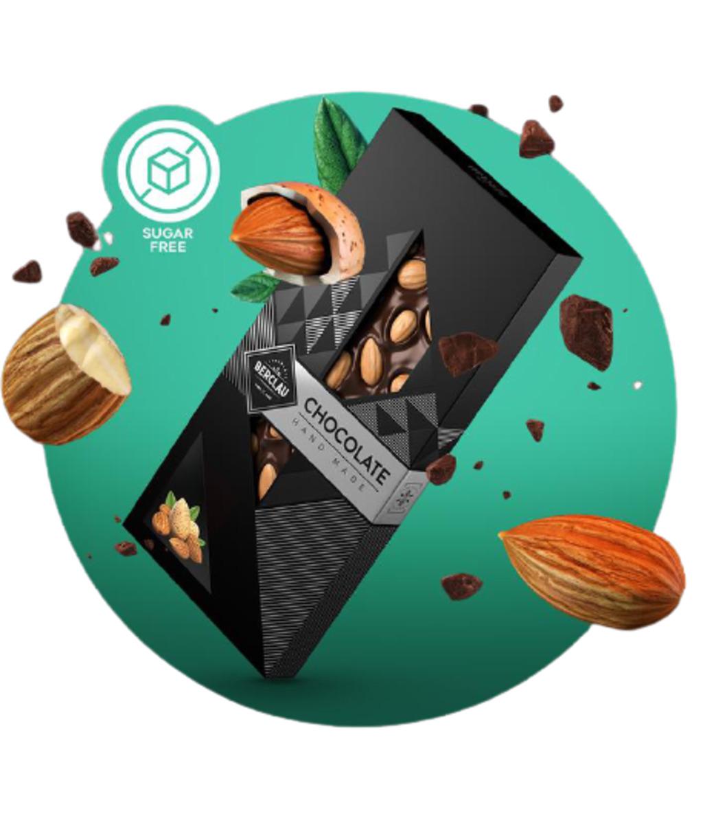 Chocolate Negro Berclau con Almendras y sin azúcar