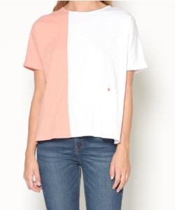 Camiseta bicolor coral