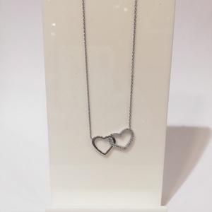 Collar de plata doble corazón con circonitas