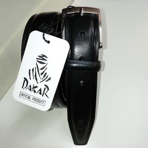 Cinturón negro Dakar de piel. 3,5cm de ancho