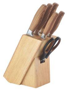 Juego de cuchillos 7 pcs con taco de madera HERENTHAL-MSH06-16005