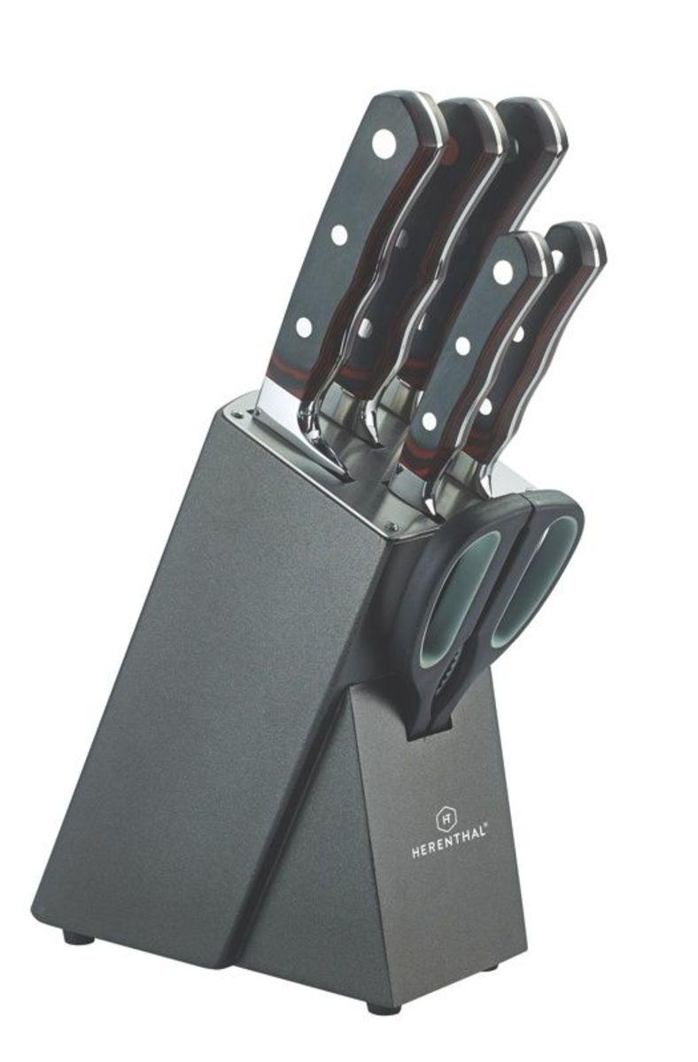 Juego de cuchillos de 7 piezas con bloque de madera y goma - HT-MSF7-16034