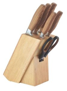 Juego de cuchillos 7 pcs con taco de madera HERENTHAL-