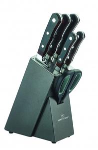Juego de cuchillos 7 piezas con bloque de madera y goma - HT-MSF7-16034