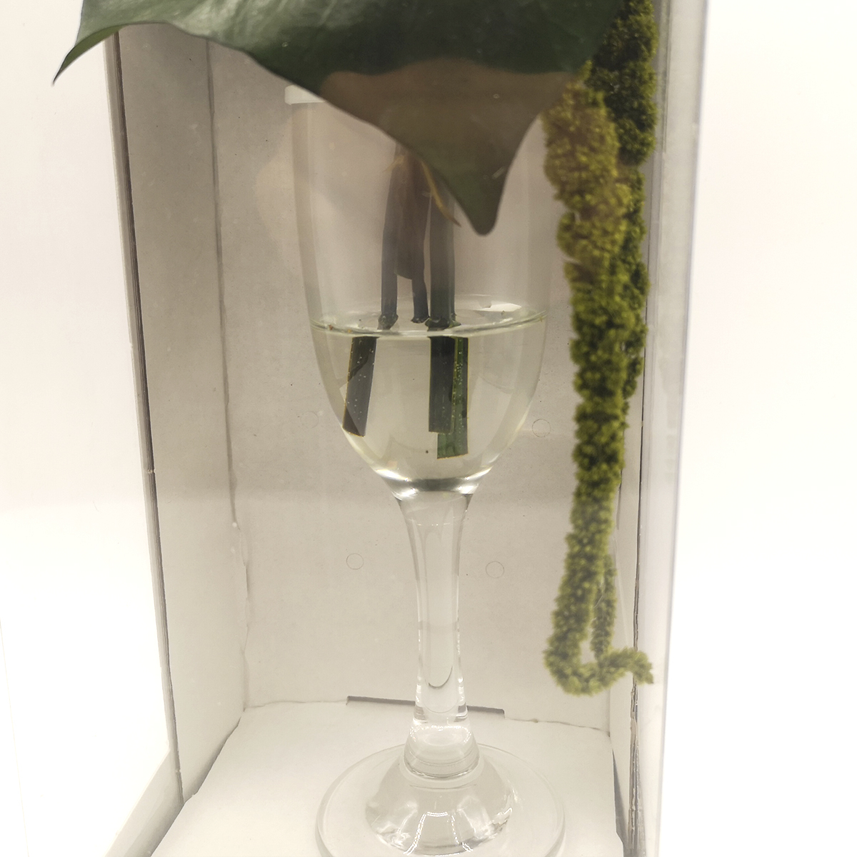 Dos rosas Blancas eternas en copa de cristal.