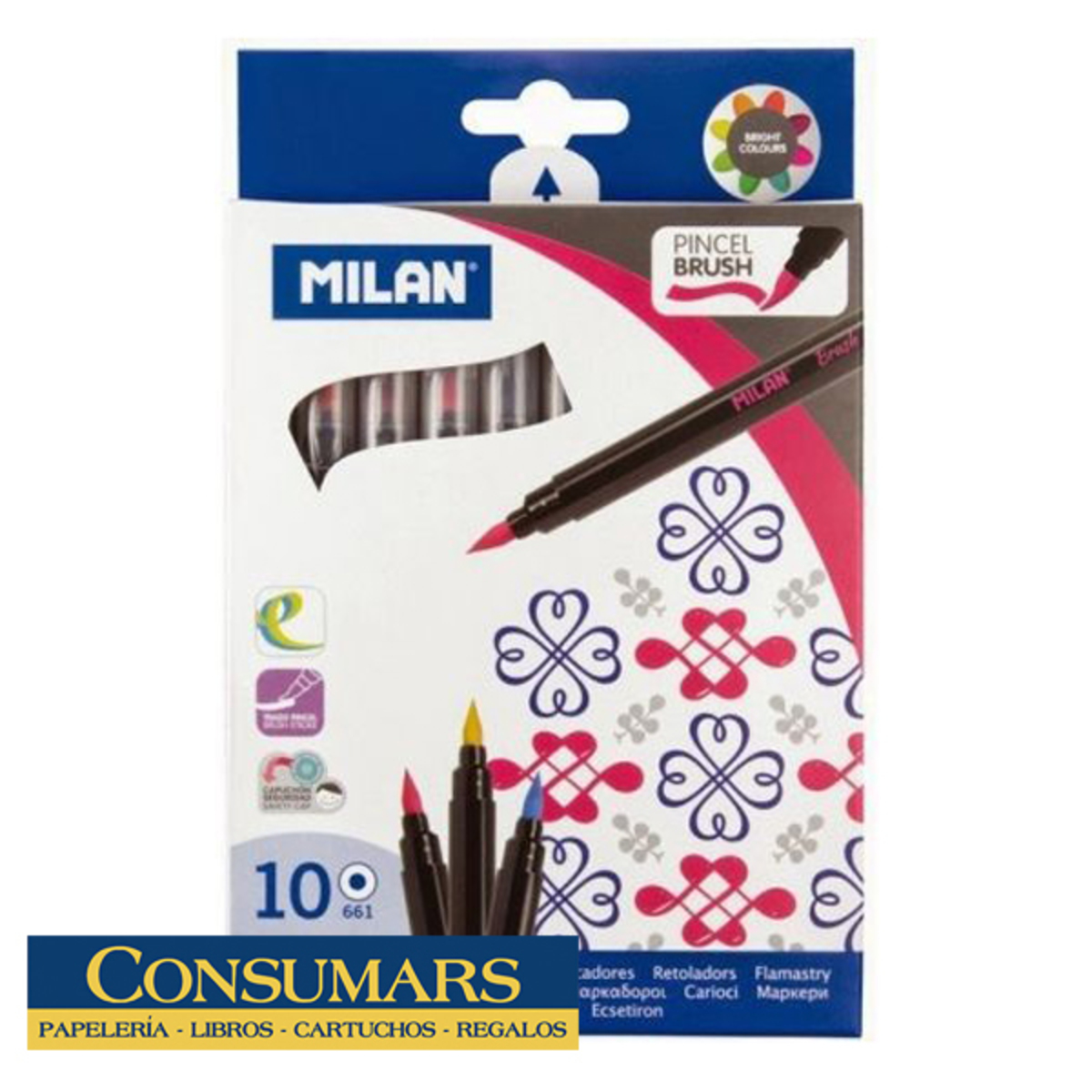 Rotuladores Pincel Milan 10u.