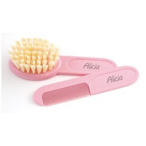 Cepillo y peine bebé personalizados ROSA