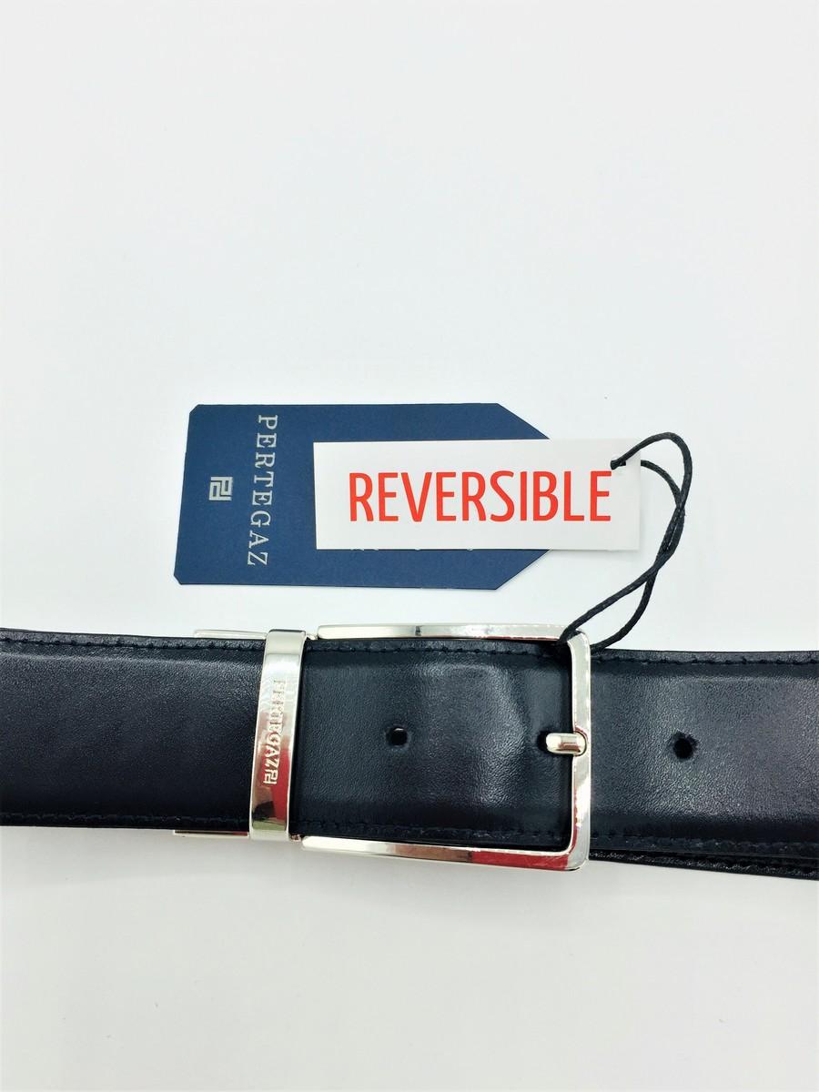 Cinturon piel reversible PERTEGAZ, negro/Marino