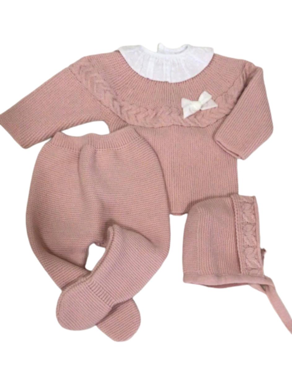 Conjunto Bebé de punto - Rosa nude