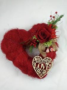 Corazón sisal con rosa roja preservada, eterna