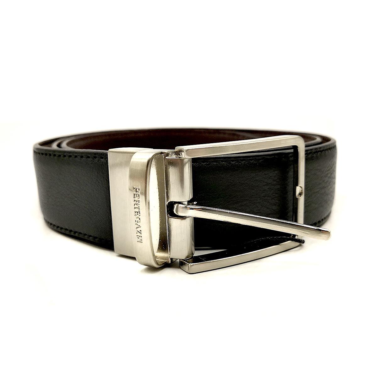 Cinturón piel reversible PERTEGAZ, marrón/negro