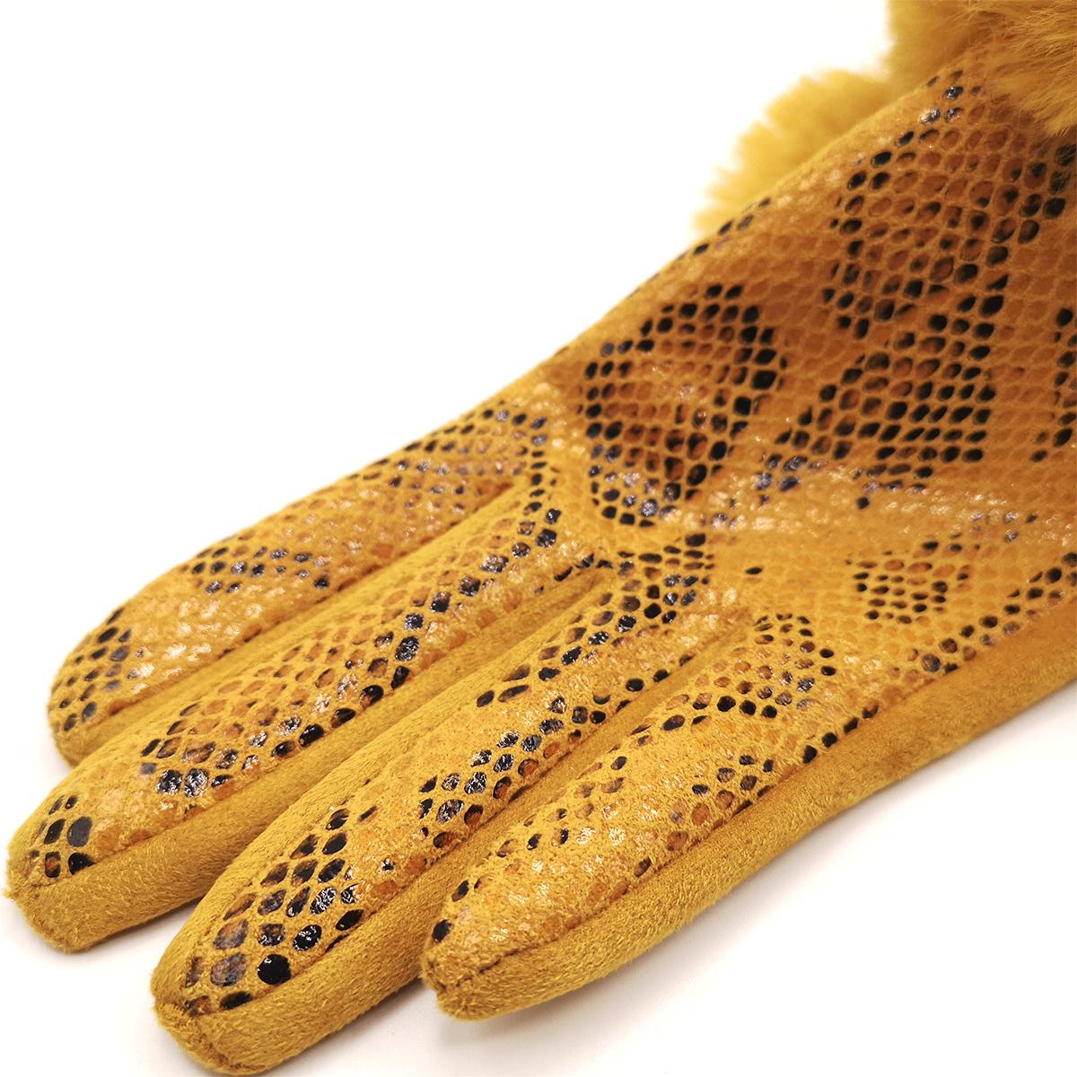 Guantes mostaza piel serpiente táctil